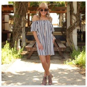 Cotton striped off shoulder dress with Pockets
